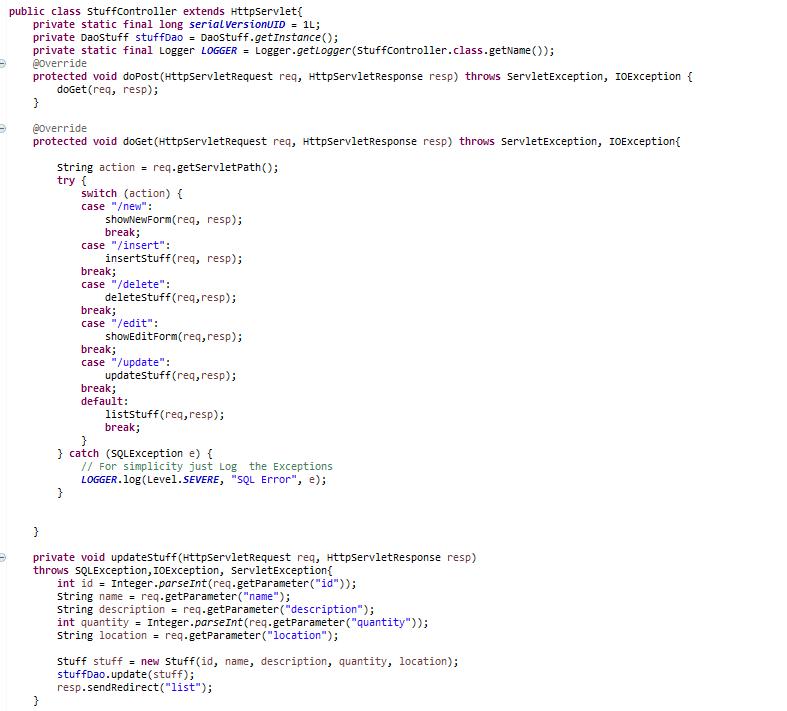 Controller Servlet Class Image 1