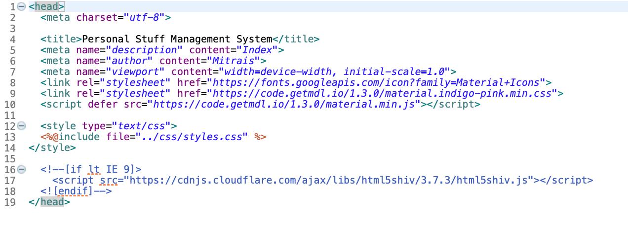 Head JSP File Image