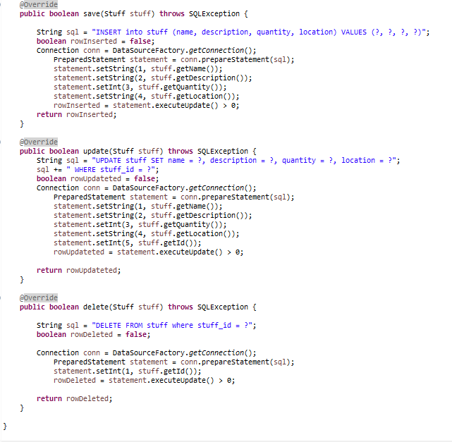 Source Code of the DaoStuff class 2