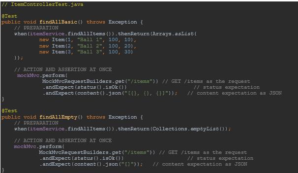 Item Controller Test Java